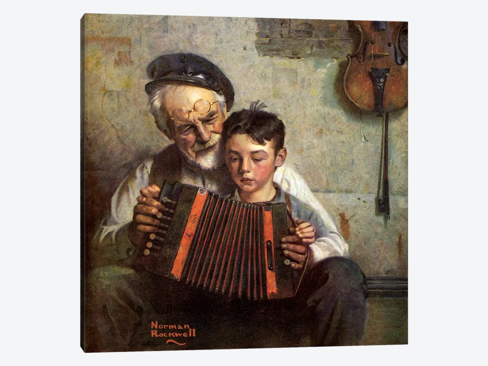 The Music Lesson by Norman Rockwell 1-piece Canvas Artwork