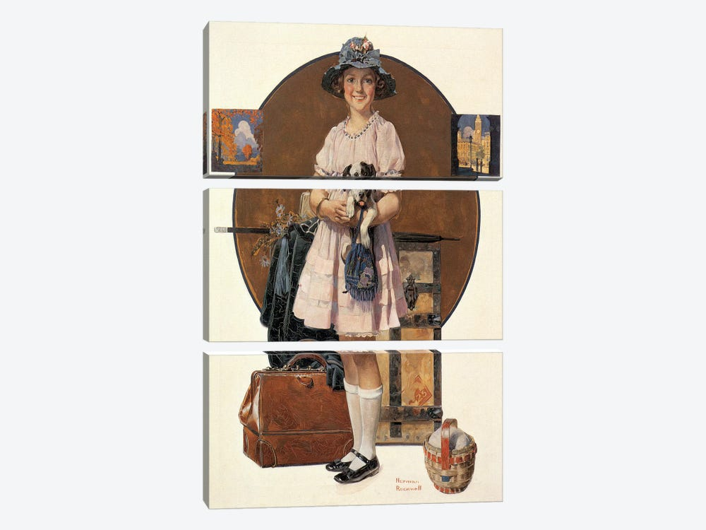 Vacation's Over by Norman Rockwell 3-piece Canvas Art Print