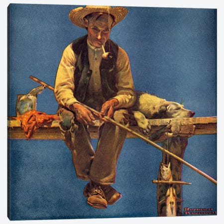 Man on Dock Fishing Canvas Print #NRL122} by Norman Rockwell Canvas Artwork
