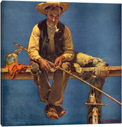 Man on Dock Fishing by Norman Rockwell Canvas Artwork