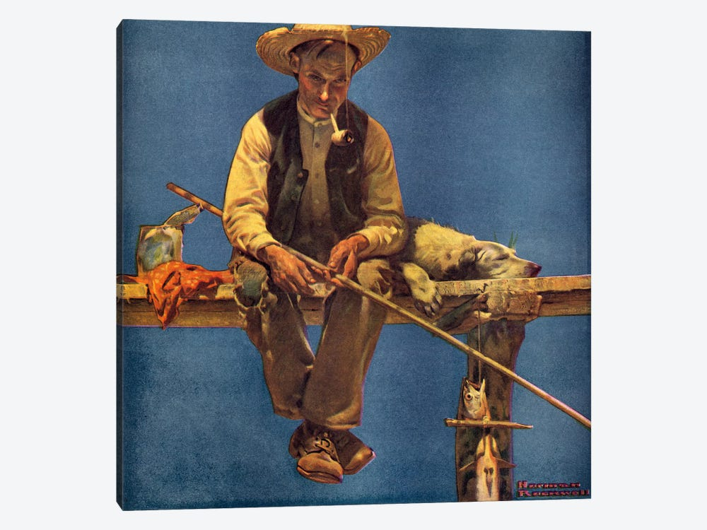 Man on Dock Fishing by Norman Rockwell 1-piece Canvas Art