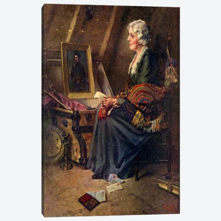 Woman Reading Love Letters in Attic Canvas Print #NRL123} by Norman Rockwell Canvas Wall Art