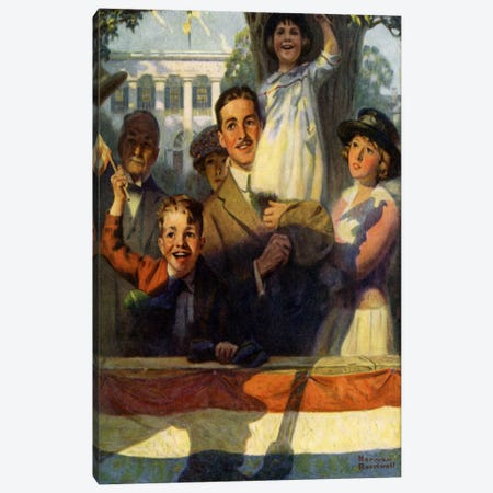 Spectators at a Parade Canvas Print #NRL124} by Norman Rockwell Canvas Art Print