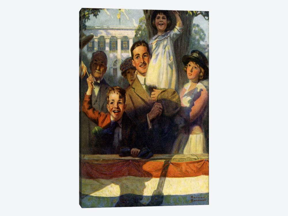 Spectators at a Parade by Norman Rockwell 1-piece Canvas Wall Art