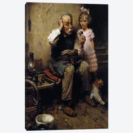 Cobbler Studying Doll's Shoe Canvas Print #NRL127} by Norman Rockwell Canvas Art Print