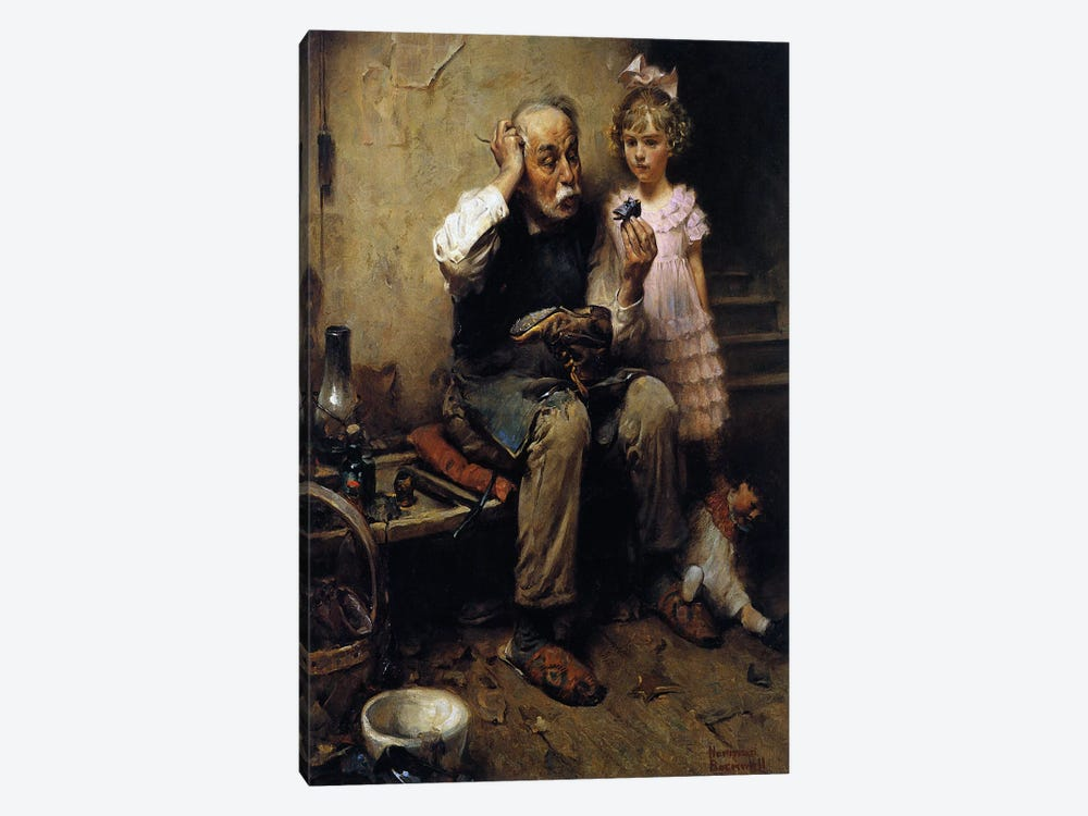 Cobbler Studying Doll's Shoe 1-piece Canvas Print