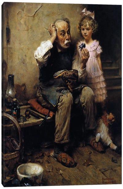 Cobbler Studying Doll's Shoe Canvas Art Print