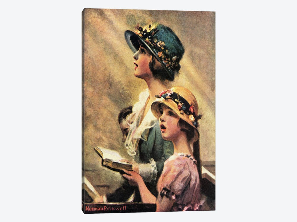 Mother and Daughter Singing in Church by Norman Rockwell 1-piece Canvas Art