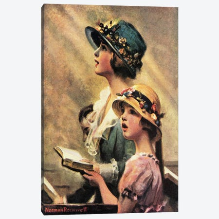 Mother and Daughter Singing in Church Canvas Print #NRL128} by Norman Rockwell Canvas Art