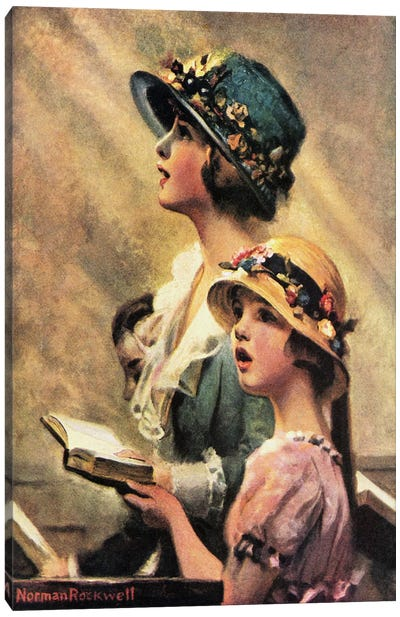Mother and Daughter Singing in Church Canvas Art Print