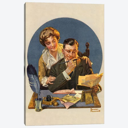 First of the Month Canvas Print #NRL129} by Norman Rockwell Canvas Artwork