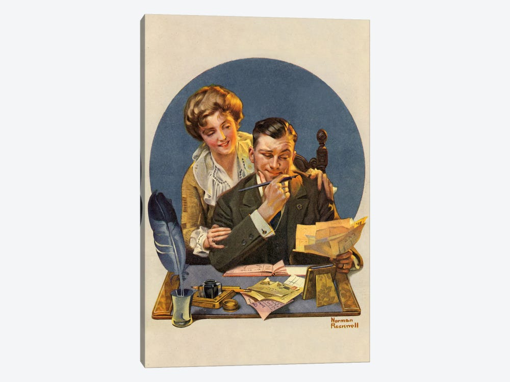 First of the Month by Norman Rockwell 1-piece Canvas Print