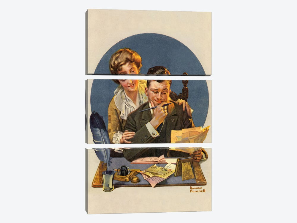 First of the Month by Norman Rockwell 3-piece Art Print