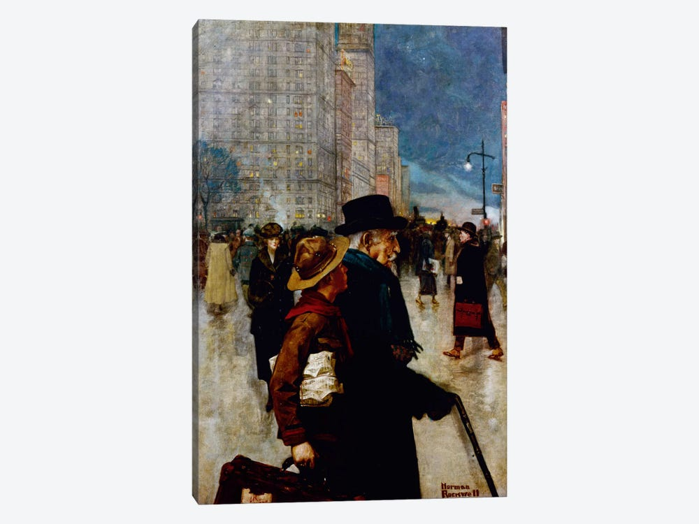 The Daily Good Turn  by Norman Rockwell 1-piece Canvas Wall Art