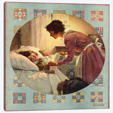 Mother Tucking Children into Bed Canvas Print #NRL130} by Norman Rockwell Art Print