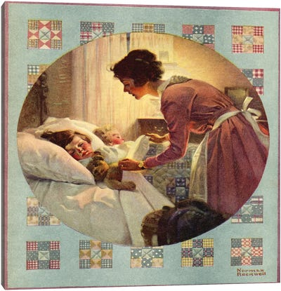 Mother Tucking Children into Bed Canvas Print #NRL130