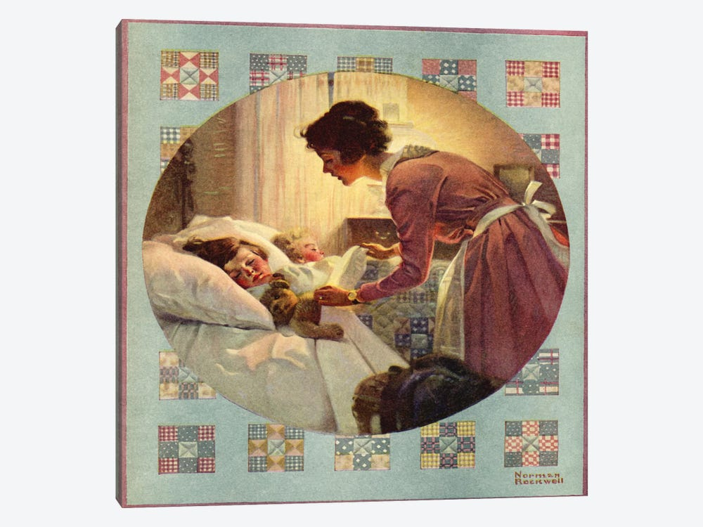 Mother Tucking Children into Bed by Norman Rockwell 1-piece Art Print