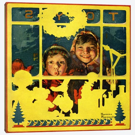 Children Looking in Toy Store Window Canvas Print #NRL131} by Norman Rockwell Canvas Print