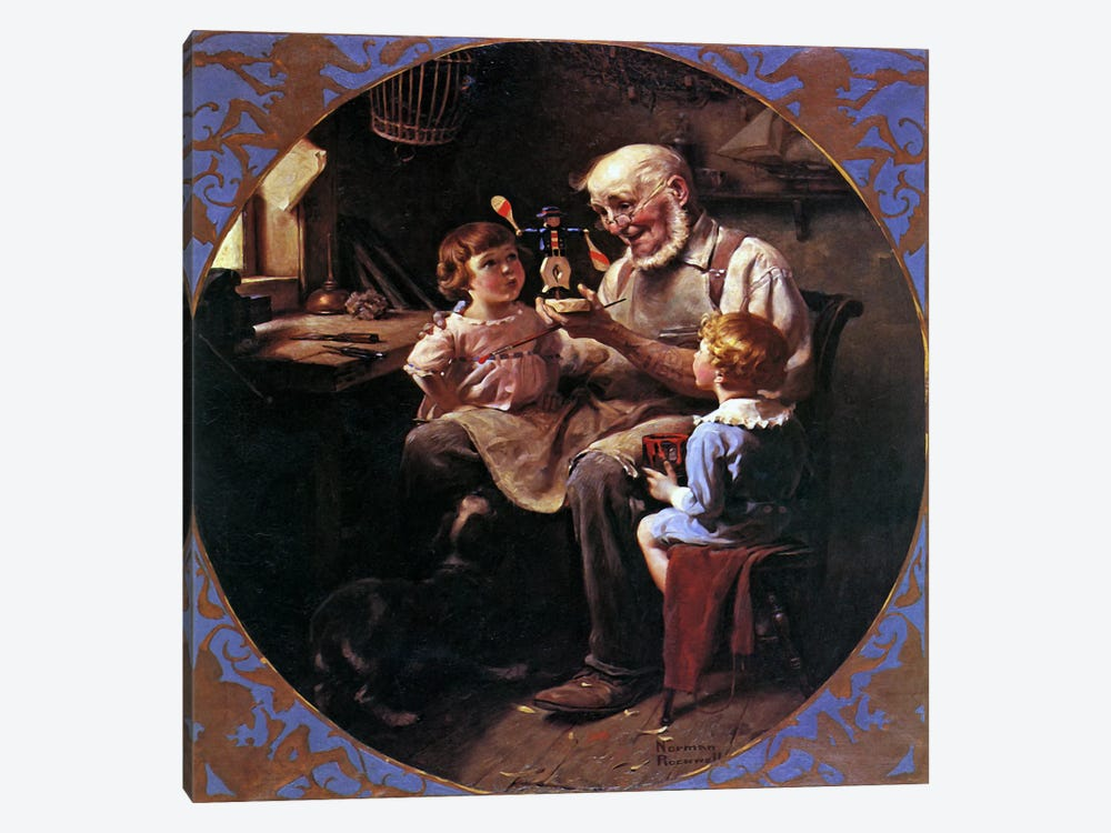 The Toy Maker by Norman Rockwell 1-piece Canvas Print