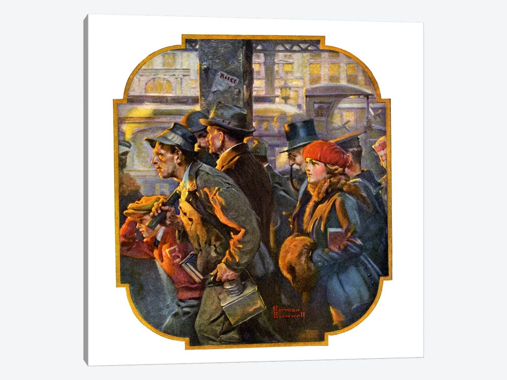 End of the Working Day by Norman Rockwell 1-piece Canvas Artwork
