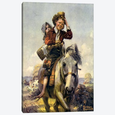 Off to School Canvas Print #NRL134} by Norman Rockwell Canvas Artwork