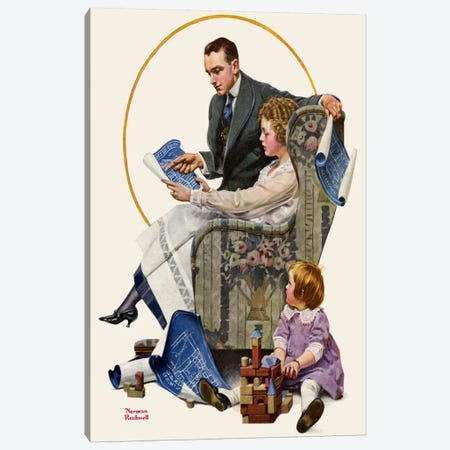 Planning the Home Canvas Print #NRL138} by Norman Rockwell Art Print