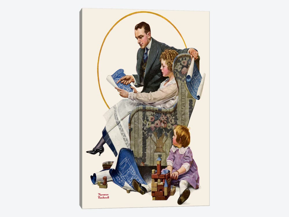 Planning the Home by Norman Rockwell 1-piece Canvas Print
