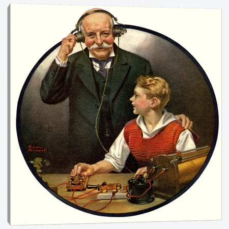 Grandpa Listening In on the Wireless Canvas Print #NRL139} by Norman Rockwell Art Print