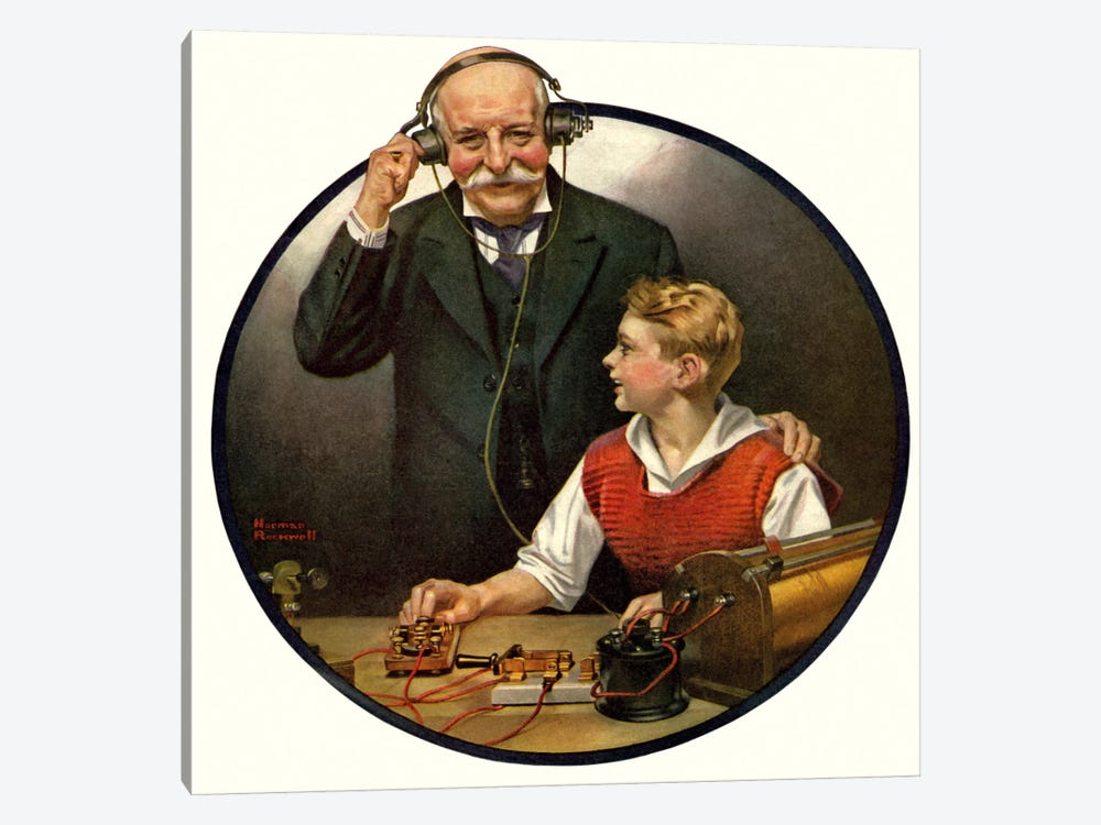 Grandpa Listening In on the Wireless by Norman Rockwell 1-piece Canvas Art