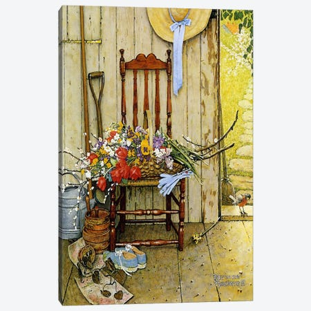 Spring Flowers Canvas Print #NRL13} by Norman Rockwell Art Print