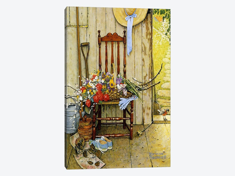 Spring Flowers by Norman Rockwell 1-piece Canvas Print