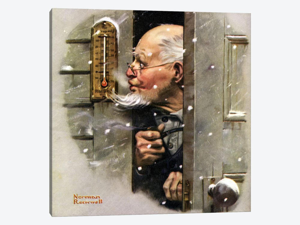 Man Reading Thermometer by Norman Rockwell 1-piece Canvas Wall Art