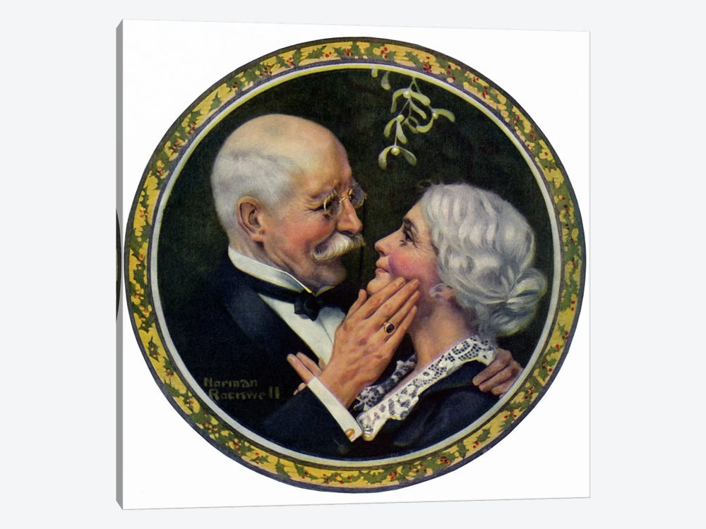 Under the Mistletoe by Norman Rockwell 1-piece Art Print