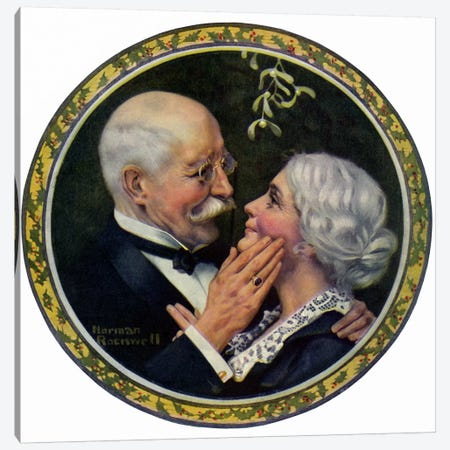 Under the Mistletoe Canvas Print #NRL141} by Norman Rockwell Canvas Artwork