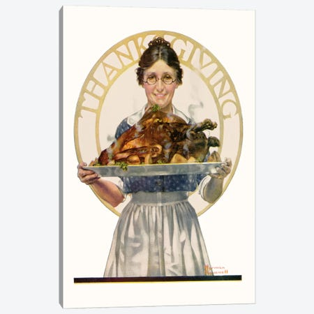 Woman Holding Platter with Turkey Canvas Print #NRL142} by Norman Rockwell Canvas Artwork