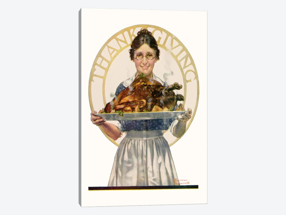 Woman Holding Platter with Turkey by Norman Rockwell 1-piece Canvas Art