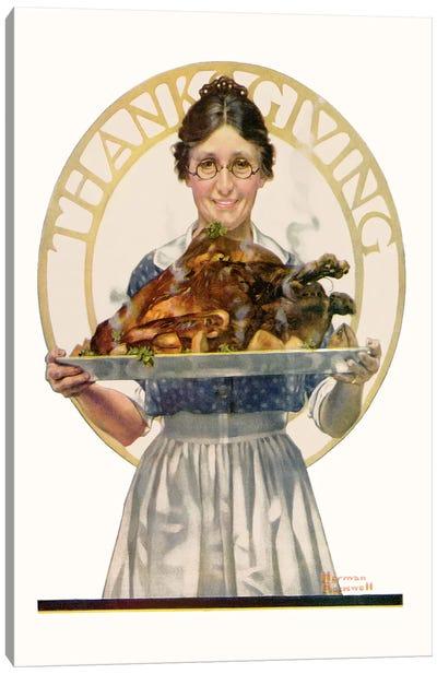 Woman Holding Platter with Turkey Canvas Art Print