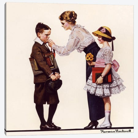 Mother Sending Children Off to School Canvas Print #NRL144} by Norman Rockwell Art Print