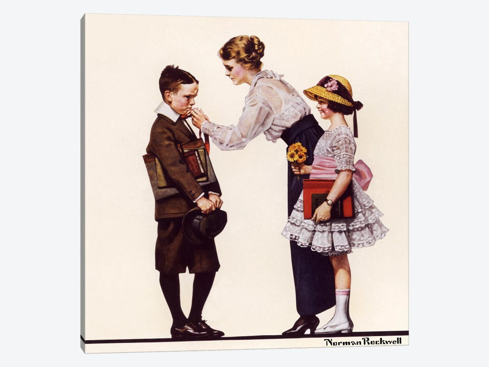 Mother Sending Children Off to School by Norman Rockwell 1-piece Canvas Art