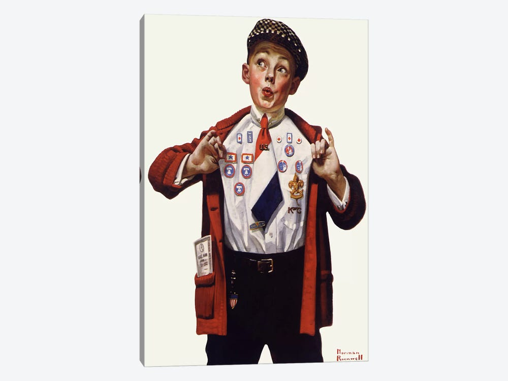 Boy Showing Off Badges by Norman Rockwell 1-piece Canvas Art