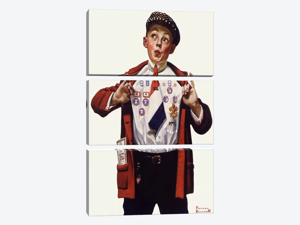 Boy Showing Off Badges by Norman Rockwell 3-piece Canvas Wall Art