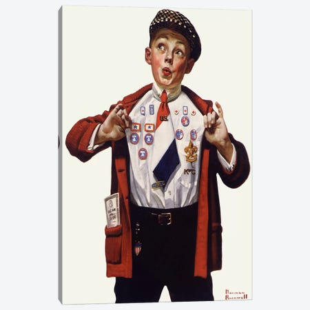 Boy Showing Off Badges Canvas Print #NRL146} by Norman Rockwell Art Print