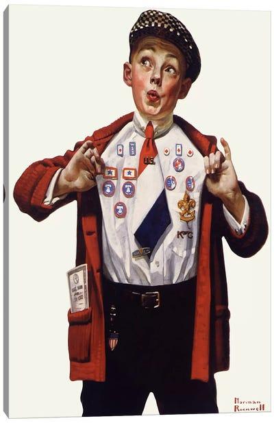 Boy Showing Off Badges Canvas Print #NRL146