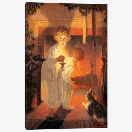 Children Looking Up Fireplace Canvas Print #NRL151} by Norman Rockwell Canvas Art Print