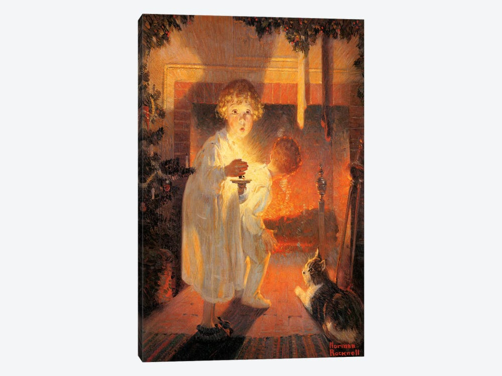 Children Looking Up Fireplace by Norman Rockwell 1-piece Canvas Art