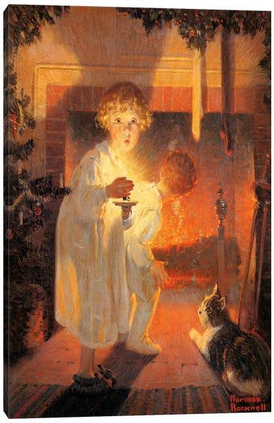 Children Looking Up Fireplace Canvas Art Print