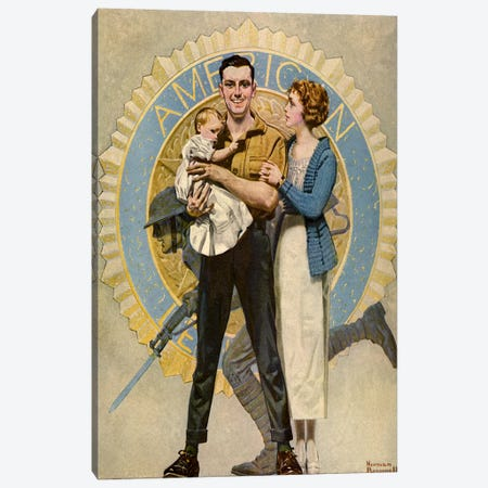 Carrying On Canvas Print #NRL152} by Norman Rockwell Canvas Art Print