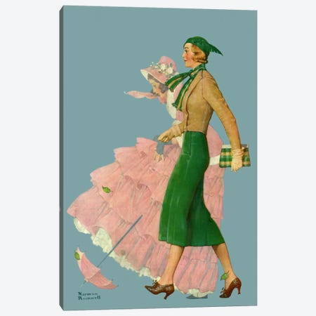 Two Women Walking Canvas Print #NRL156} by Norman Rockwell Canvas Artwork