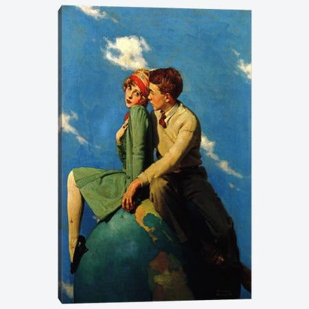 On Top of the World Canvas Print #NRL157} by Norman Rockwell Canvas Artwork