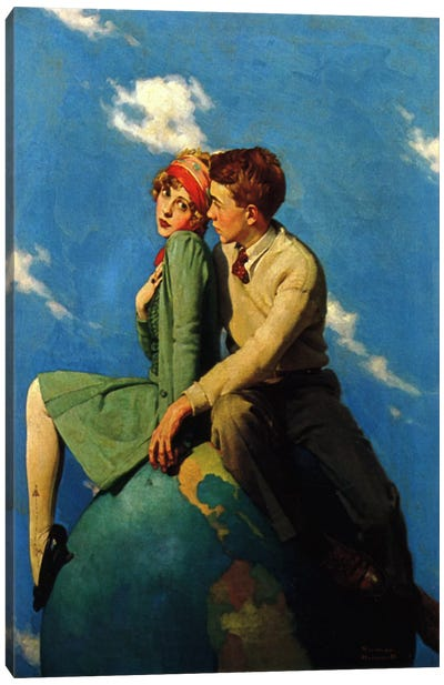 On Top of the World by Norman Rockwell Canvas Artwork